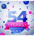Fifty four years anniversary celebration on grey vector image vector image