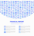 financial report concept with thin line icons vector image vector image