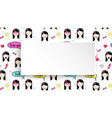 girl banner with anime emoji pattern cute vector image vector image