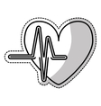 heart cartoon with cardiogram icon image vector image