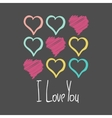 I Love You Card With Red Hearts Hand Drawn Pastel vector image