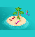 isometry fairy-tale characters in the sea lake m vector image vector image