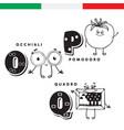 italian alphabet glasses tomato picture vector image vector image