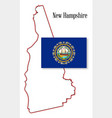 new hampshire state map and flag vector image vector image
