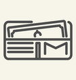 opened wallet line icon purse vector image
