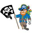 pirate with flag vector image vector image