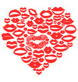 red lips set in heart vector image vector image