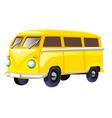 retro travel yellow van isolated on white vector image