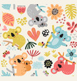 seamless pattern with a koala vector image vector image