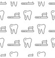 seamless pattern with teeth an toothbrushes vector image vector image