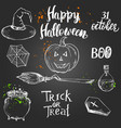 set hand drawn halloween elements vector image