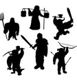 silhouettes medieval male characters vector image vector image