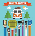 time to travel modern flat background with hand vector image vector image