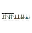 types boat anchors vector image vector image