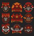 vintage firefighting colorful emblems set vector image vector image