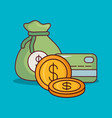 wallet with money design vector image vector image