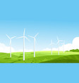 wind turbines on meadow flat vector image vector image