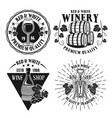 wine and winery set isolated emblems vector image vector image