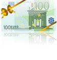 100 euro and gold bow vector image