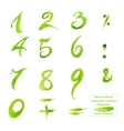 Set hand-drawn calligraphy numbers and symbols vector image