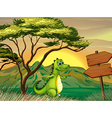 A crocodile walking near the empty arrowboards vector image vector image