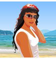 beautiful girl in sunglasses smiling standing vector image vector image