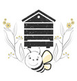 bee with hive and flowers vector image