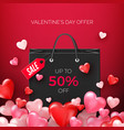 black shopping bags with discount offer with vector image