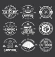 camping vintage white emblems on dark vector image vector image
