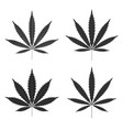 cannabis leaf icons set black silhouette indica vector image