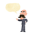 cartoon annoyed old man pointing with speech vector image vector image