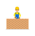 cartoon bricklayer is building a brick wall vector image