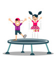 cartoon little kid playing trampoline vector image vector image