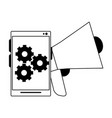 cellphone gears and peripone in black and white vector image vector image
