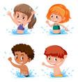 children splashing in water scene vector image