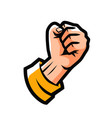 clenched fist fight emblem or label cartoon vector image vector image