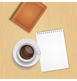 coffee cup and blank notepad on wood vector image vector image