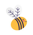 cute bee flying insect cartoon icon vector image