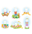 cute easter bunny clipart set vector image vector image