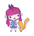 cute little girl cartoon and squirrel animal vector image