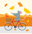 cute rat traveling bicycle vector image