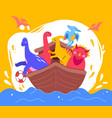 dinosaurs on a boat - flat design style vector image