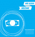dollar icon on a blue background with abstract vector image