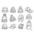 doodle caps knitted winter hats hand drawn warm vector image vector image