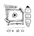 doodle video player vector image vector image