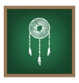 Dream catcher sign White chalk effect on green vector image vector image
