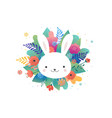 easter greeting card - flowers and cute bunny vector image vector image