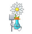 farmer vase with bouquet of beautiful cartoon vector image