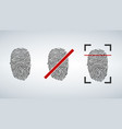 fingerprint identification icon set scan and vector image