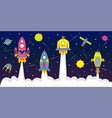 flat background with spaceships a in starry sky vector image vector image